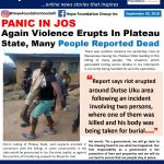 Again Voilence Erupts In Plateau, Many People Reported Dead